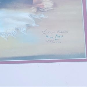 Vintage Wall Art - Vivian Flasch flower basket love letters signed